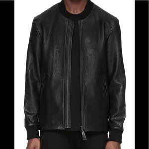 Mackage Men's Tobin Black Leather Bomber Jacket 36